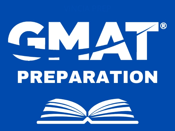 Blue and white GMAT Prep logo with open book