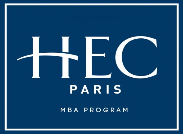 HEC MBA blue background with white text