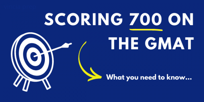 Blue banner for scoring 700 on the GMAT with white target
